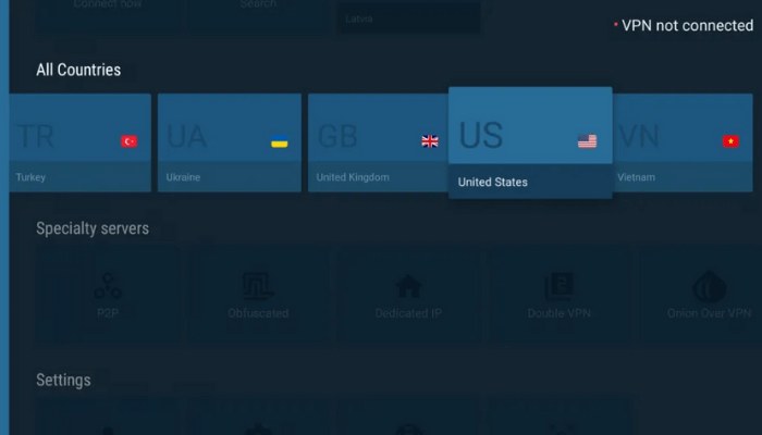select the US server