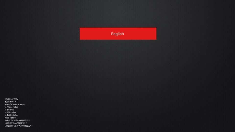 select English - Ping IPTV on Firestick