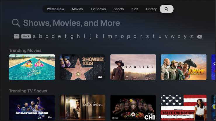 Search for Tubi on Apple TV