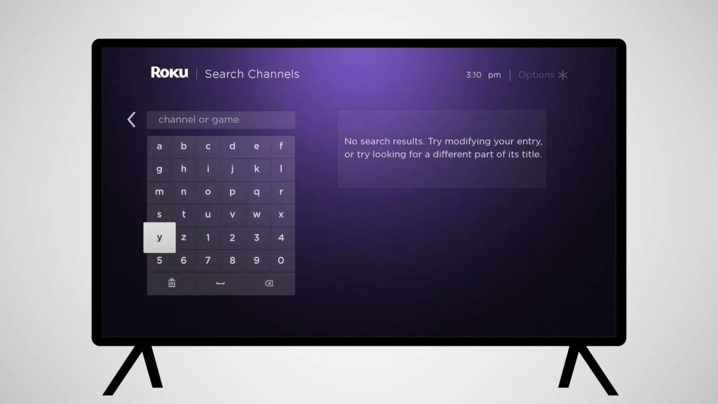 search for VH1 Roku