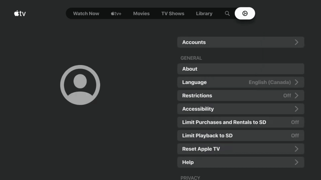 Choose Accounts - Apple TV on Nvidia Shield