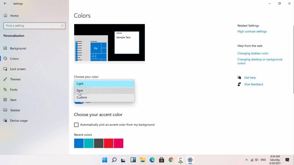 Dark mode on Windows 11