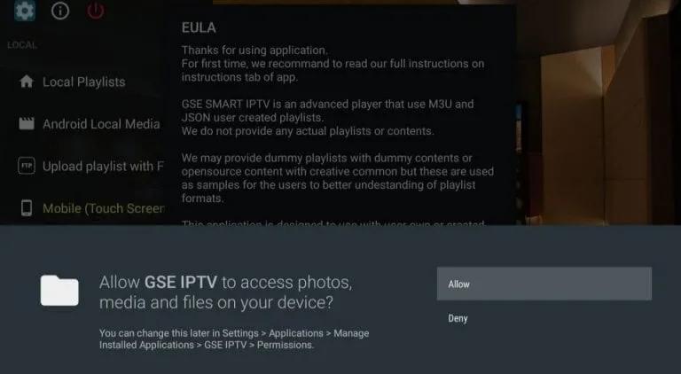 GSE Smart IPTV on Firestick- Press allow