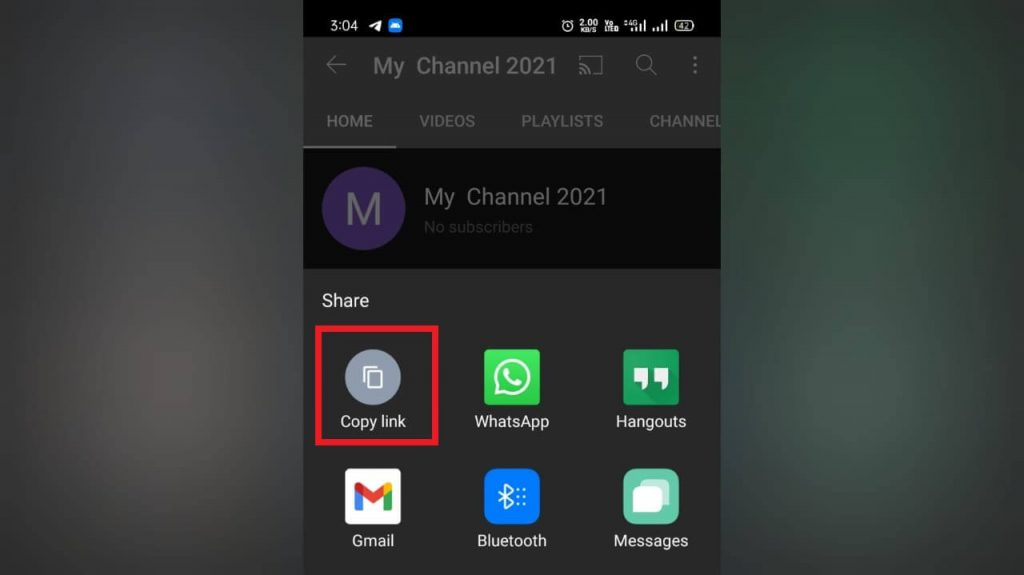 copy your YouTube URL