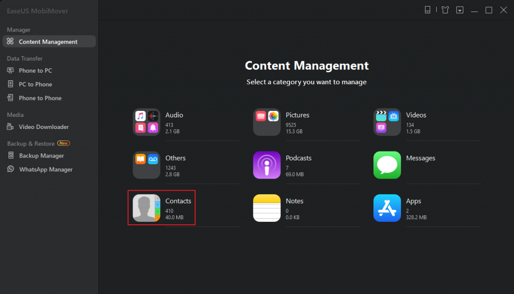 select Contacts button