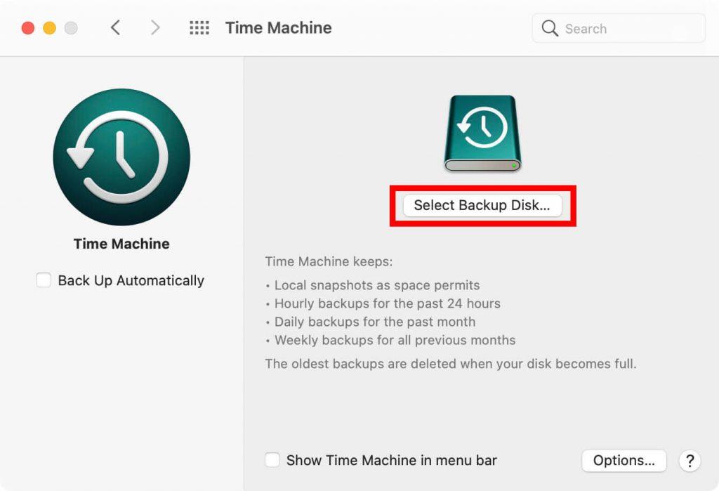 tap select backup disk