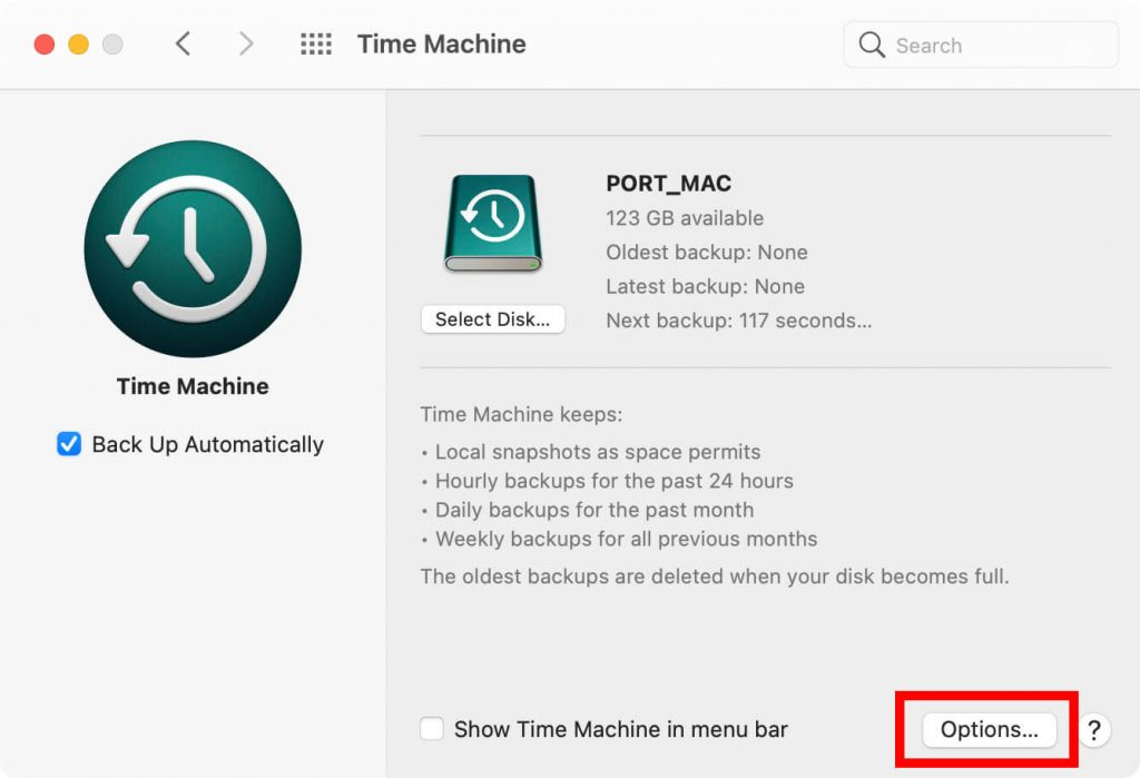 options - How to Use Time Machine on Mac