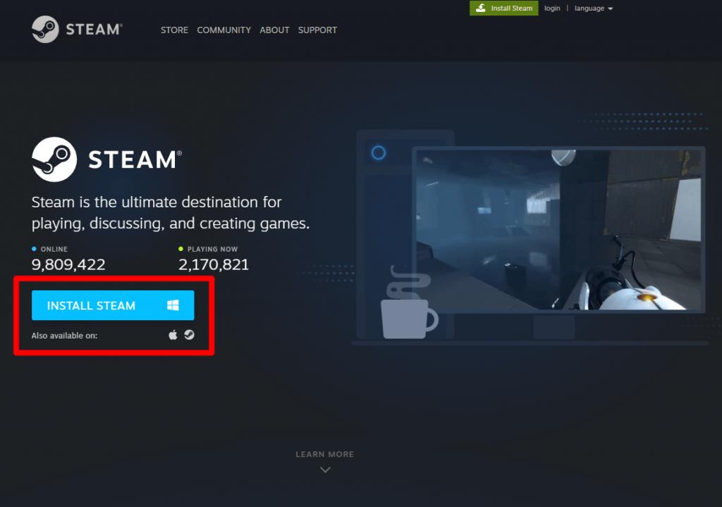 Tap Install Steam button