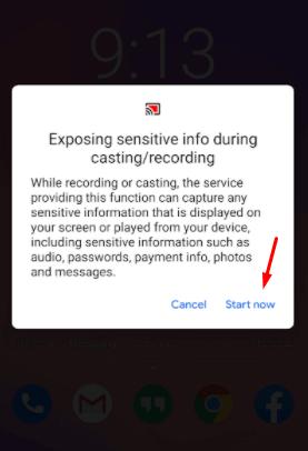 Click Start Now to start screen mirroring