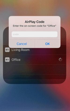 Enter AirPlay Code - Skype on Apple TV
