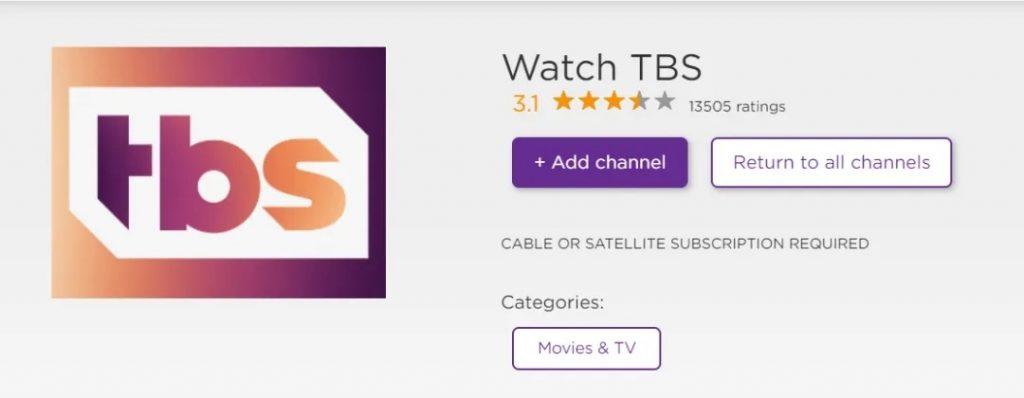 Add TBS on Roku