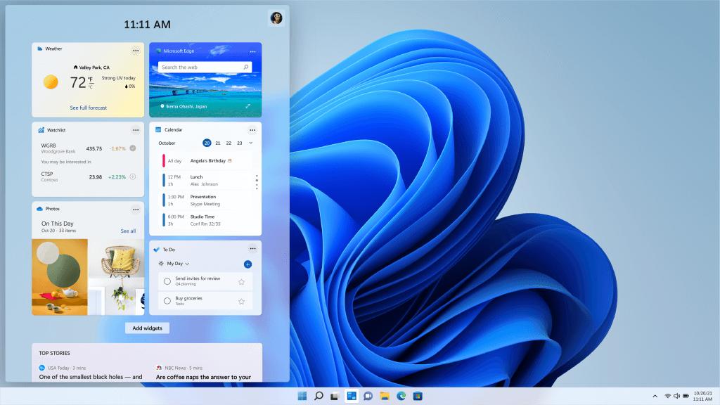 Widgets on Windows 11