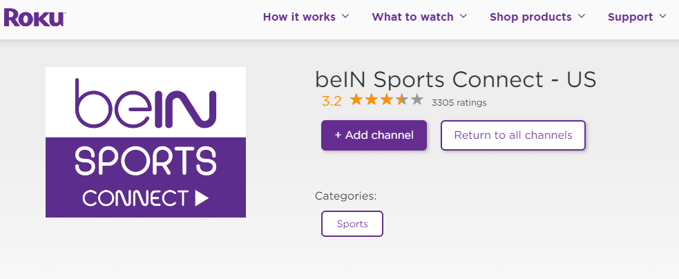Click Add Channel to get beIN Sports Connect on Roku