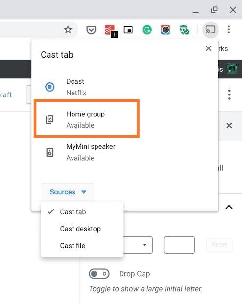 Chromecast MTV- Source > Cast tab or cast desktop