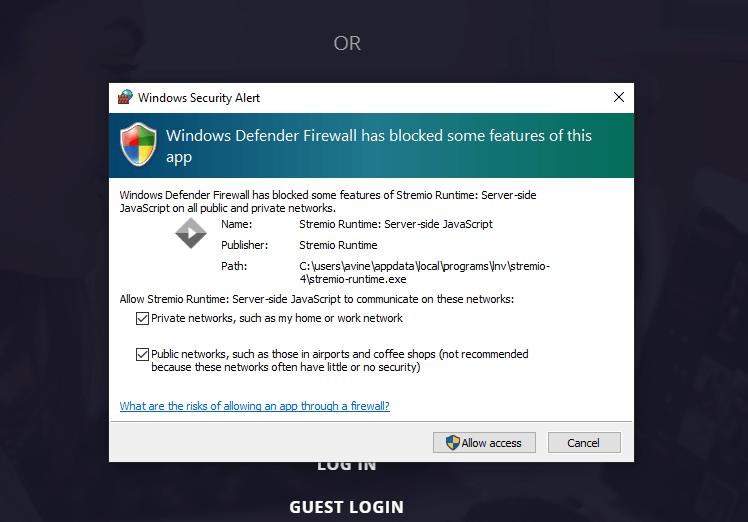 click Allow access