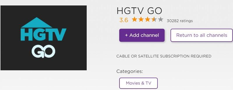 Add HGTV channel on Roku