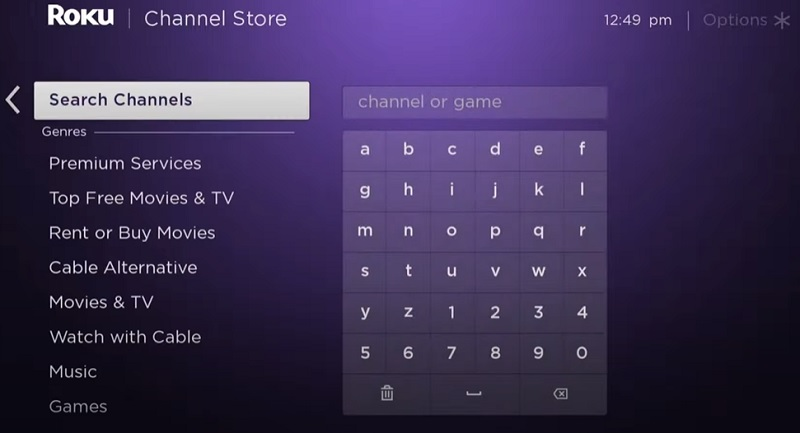 Search for HGTV on Roku