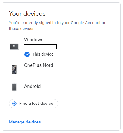 Select your Android device