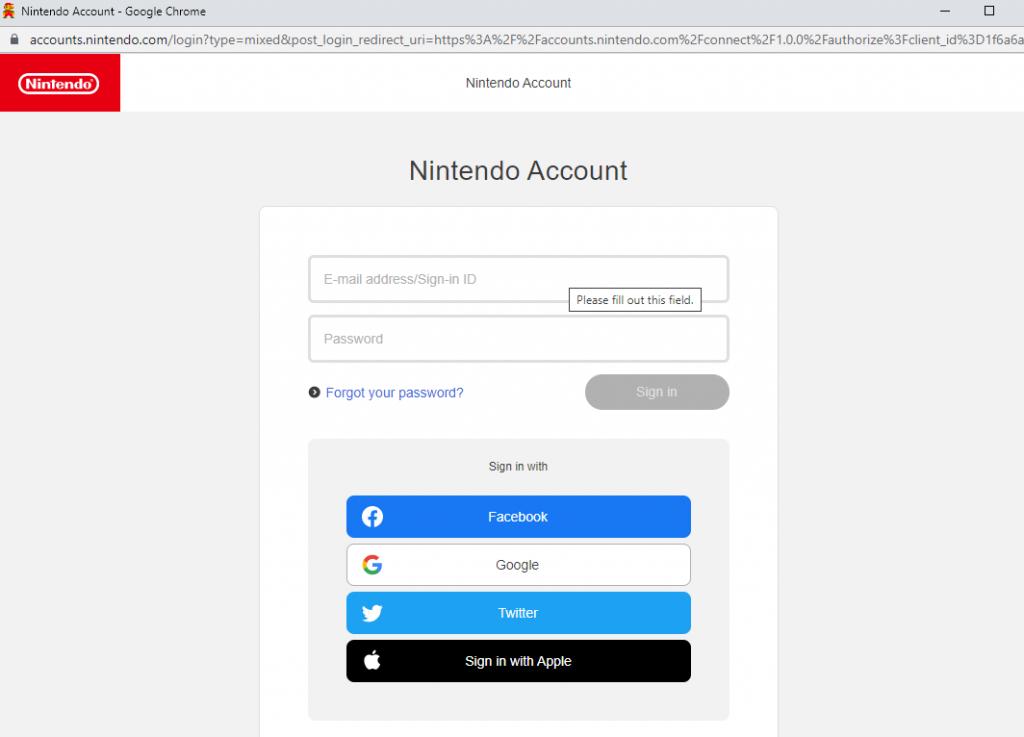 Enter the Nintendo account credentials