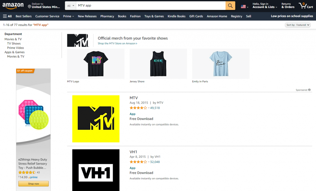 Select MTV to install the app on Firestick
