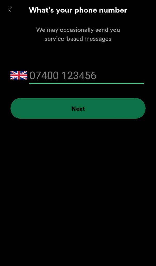 Enter phone number for Spotify Greenroom sign up