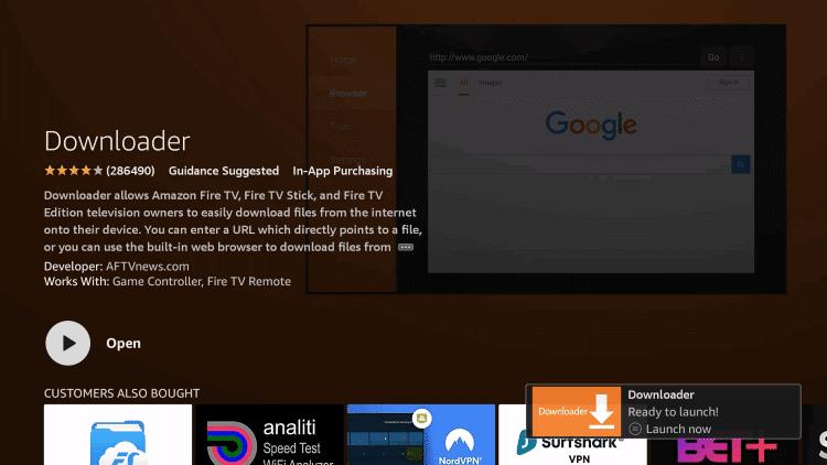 open the Downloader app