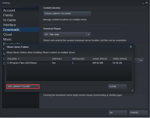 Add Library Folder - Change Steam Install Location