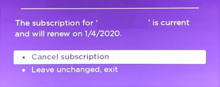 select Cancel subscripition