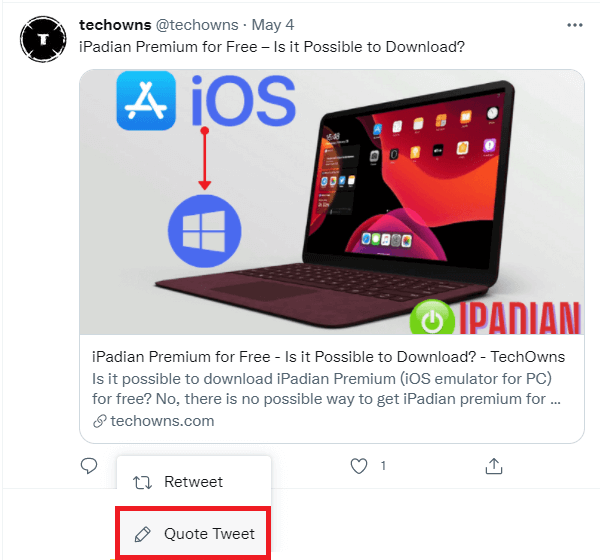 How to Quote a Tweet on Twitter using website
