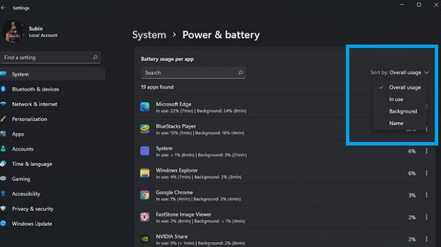 Check Battery Usage Per App in Windows 11