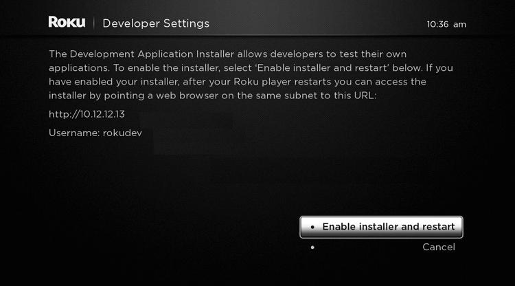 Enable Roku Developer Mode