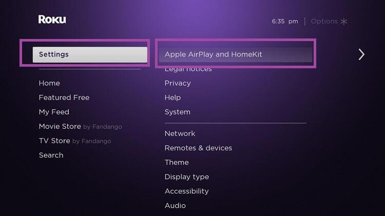 Enable AirPlay on Roku