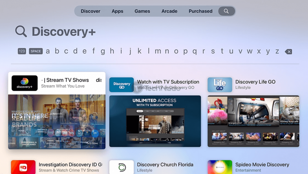 Choose the Discovery Plus app