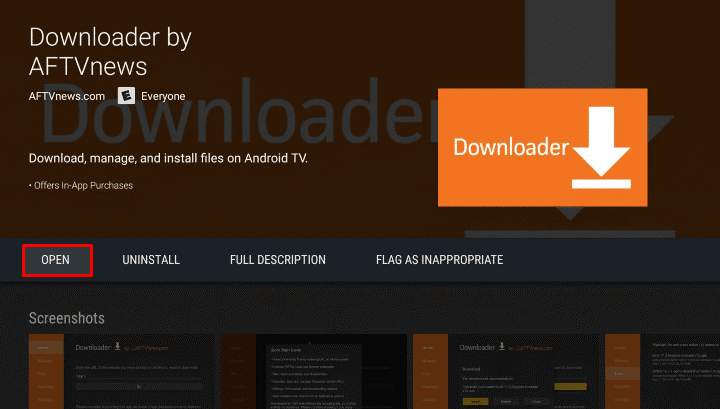 Open Downloader on Android TV