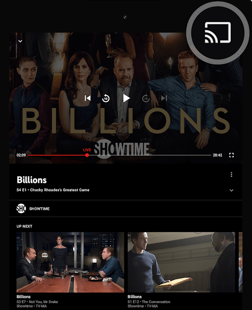 Click Cast icon - YouTube TV on Android TV